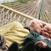 Elderly couple on a hammock